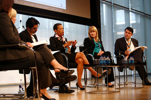 Carlos Manzano moderates the 'Developing New York's Workforce' panel at the CEOs Summit: The Times Center